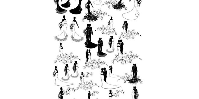 Wedding silhouettes CDR laser engraving