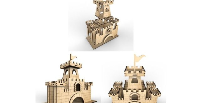 Tea house castle laser cutting and engraving file CDR DXF Template