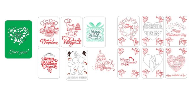 Valentine and happy birthday cards CDR File