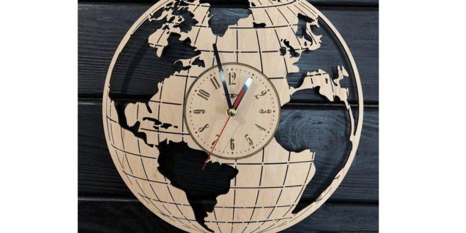 World map clock laser file