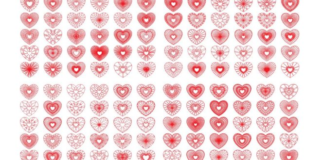 144 Hearts pack cdr file vector for engraving