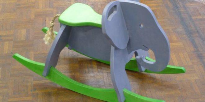Toy elephant rocker 18mm kids cdr dxf