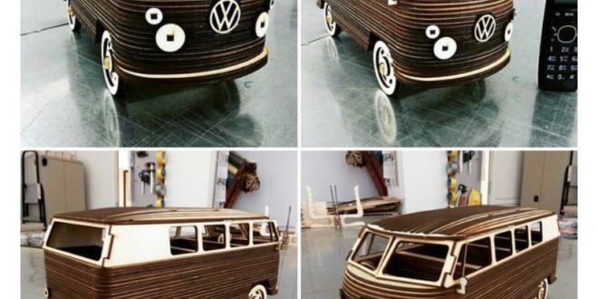 VW Camper laser cut template cdr dxf puzzle