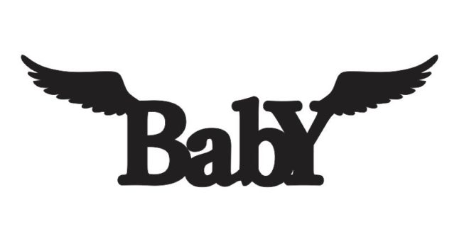 Free baby word vector dxf file