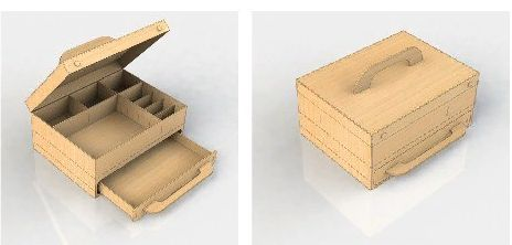 Free drawer box dxf laser cut template