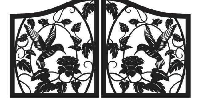 Free vector for cutting in machines cnc gate with hummingbird