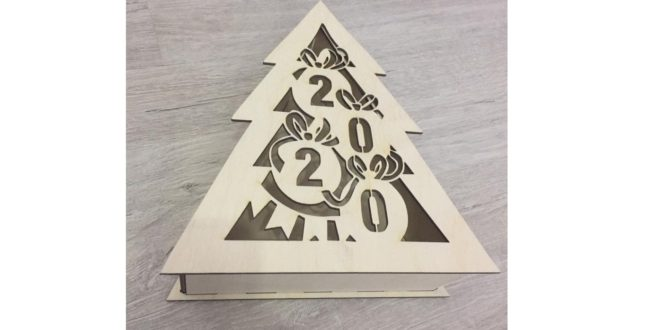 Free Box in the shape of a Christmas tree