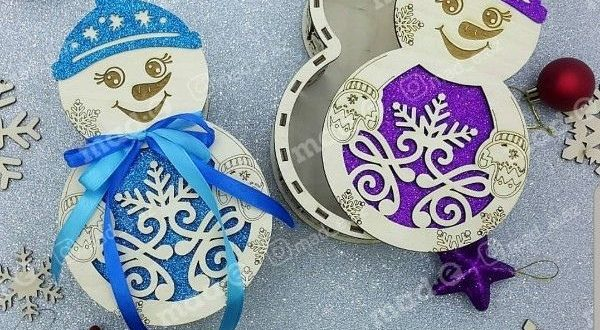 Free Laser Cut Snowman Box with Lid Template CDR File
