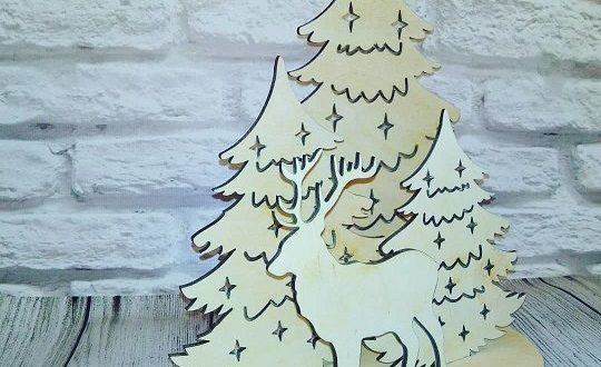 Free CDR File Laser Cut New Year Christmas Composition