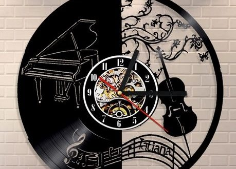 Piano and Violin Vinyl Wall Clock