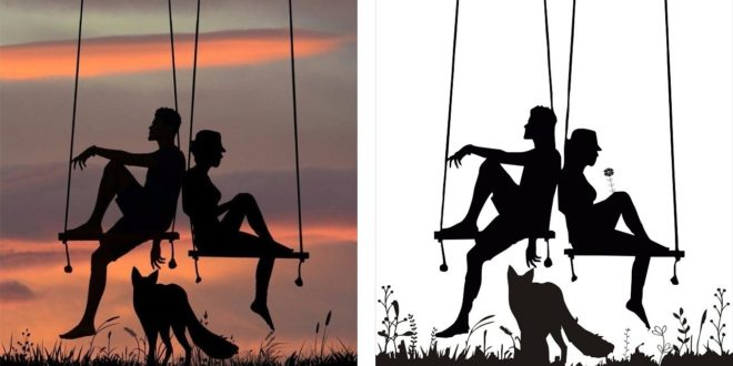 Sunset Silhouette Image As Wall Decoration dxf cdr