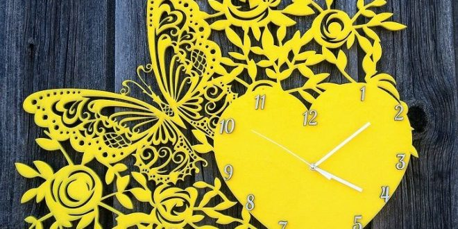 Wall clock flowers and butterfly