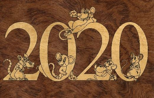 Free Template CDR File 2020 Laser Cut New Year