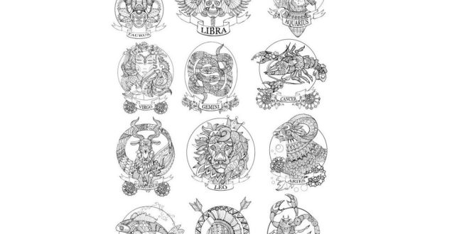 Zodiac signs engraving vector cdr file