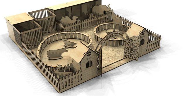 Laser Cut Zoo 3D Model Template CDR File