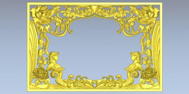 Panel floral 3d stl decoration cnc router relief 1181