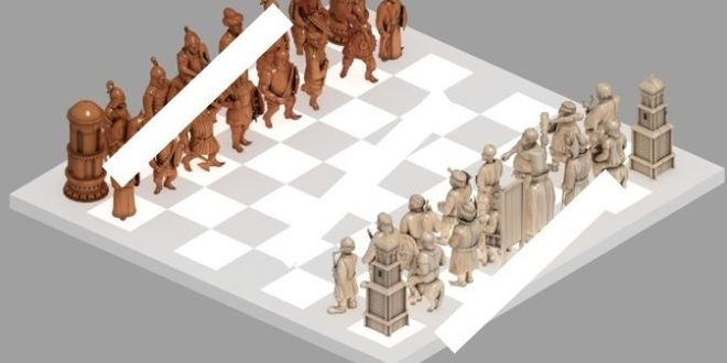 Chess pieces to 3D Print or Cnc Milling 4 Axis 1187