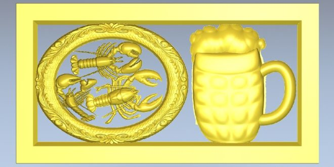 Chopp and Lobsters panel 3d Relief 1191