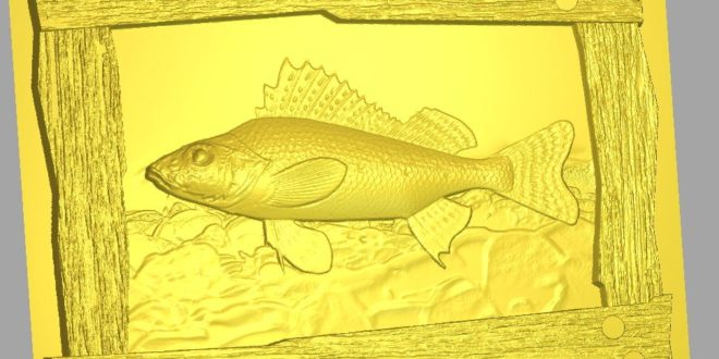 Fish Frame with Rustic Frame STL 3D 1194