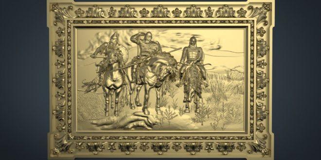 Horse Riders Panel Frame 3D STL 1214