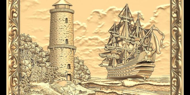3D Cnc Stl File picture ship beach sea 1235