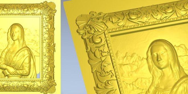 Cnc Art 3D File STL Mona Lisa Da Vinci Frame 1238