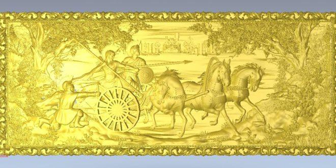 3D Stl Panel Medieval horses warriors 1258