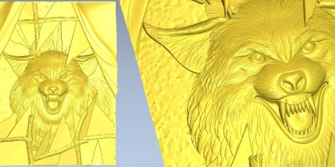 3D Relief Dog Wolf Danger Animal Ferocious 1282