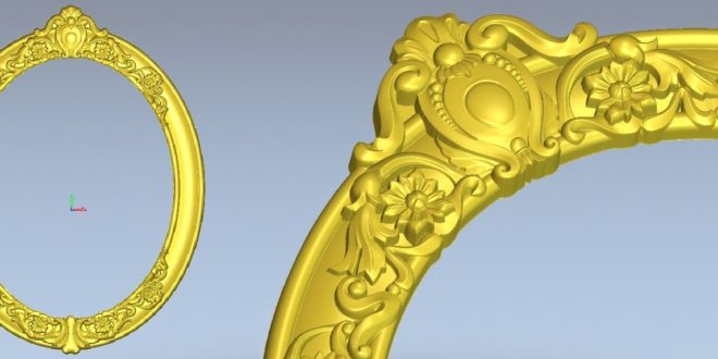 Oval 3D Frame Model Relief 1302