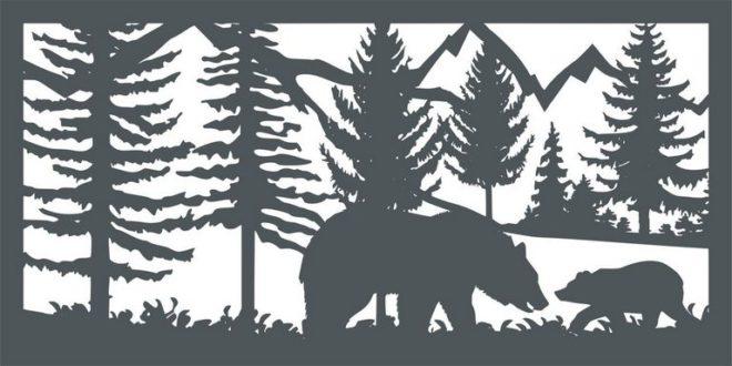 Free DXF Cnc Cut Bear Cub Mountains
