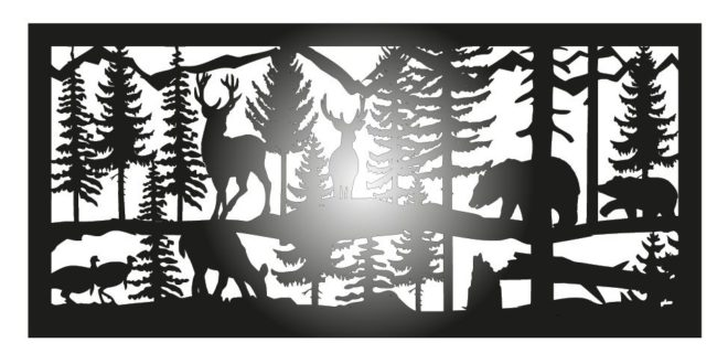 Free DXF File Panel Bear and deer forest