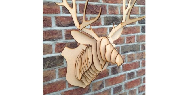 CDR DXF Laser Cut Deer Head 6mm