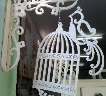 Free Cnc Cut Vector Welcome Sign with Bird Cage