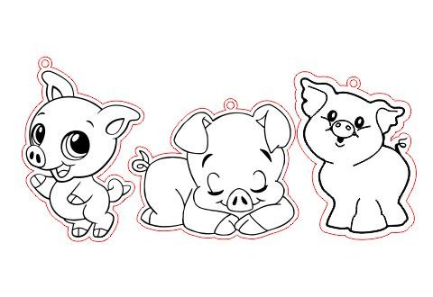 Free CDR Laser Cut and Engraving Little Pigs 2