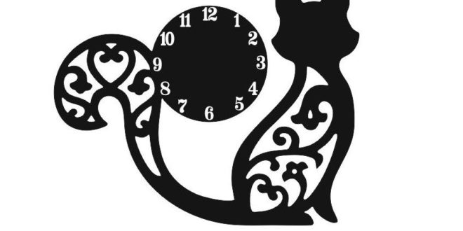 Free DXF Laser Cnc Cut Watches with a sculpted kitten
