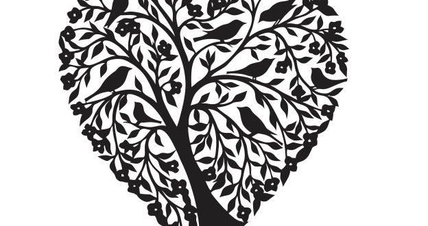 Tree Heart Birds Dxf file Silhouette