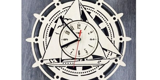 Free Laser Cut Vector Wall Clock Yacht Boat Ship