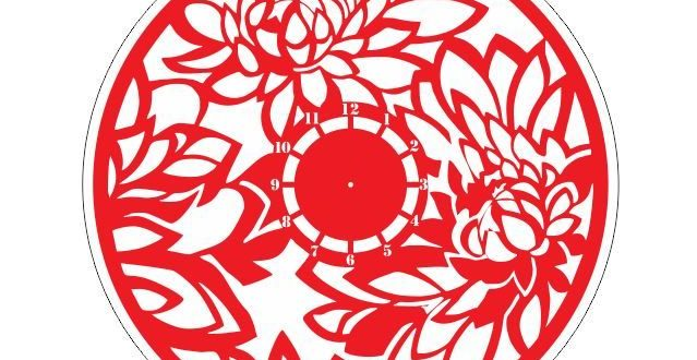 Floral wall clock laser cut template dxf cdr