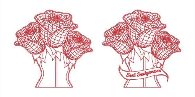 Free Laser Vector 3d illusion Flower cdr