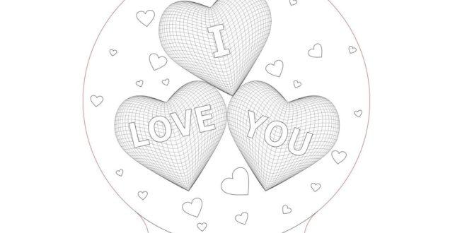 3D Illusion Laser Cut File Free Hearts I love you Nightlamp