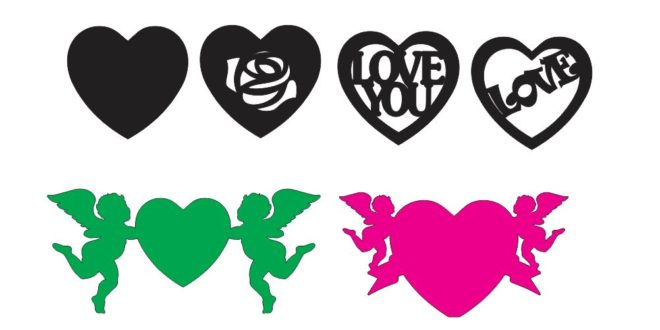 Dxf Cdr Laser Cnc Vector Silhouette Love Heart Angel Decor