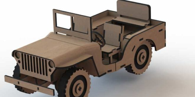 Off-road convertible jeep car puzzle laser cut DXF