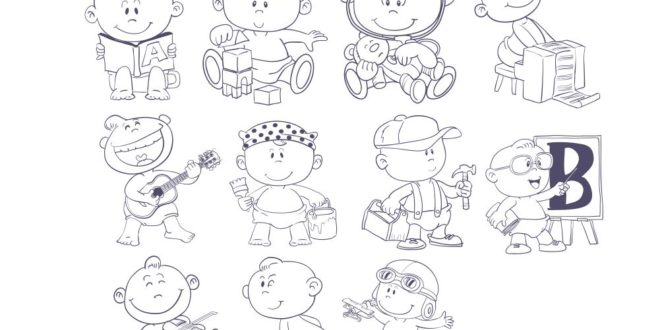 Pups Kids Line Art CDR Vectors File Engrave