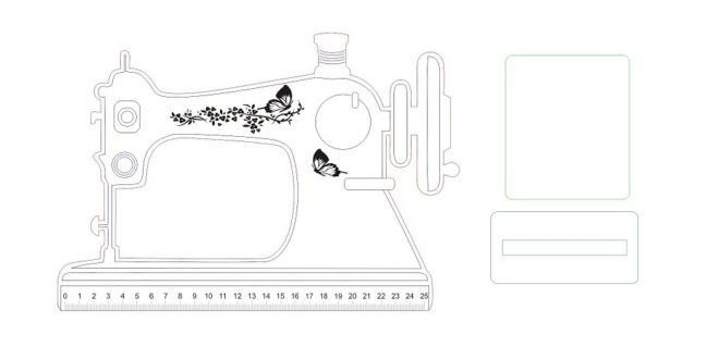 Sewing Machine Ruler Laser Cut Engrave Vector
