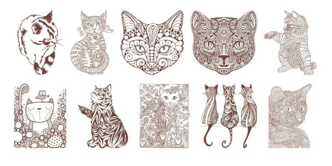 Stencil Cats Pack Vector CDR CNC Engrave