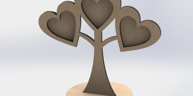 Laser Cut File Heart tree picture frame CDR DXF