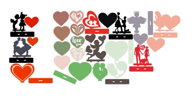 Valentines Day Love Heart Cupid Couple CDR DXF