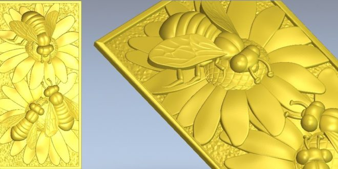 3D Cnc File STL Picture Bees on the leaves 1319