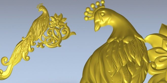 Peacock Relief 3D STL Cnc Router File 1346