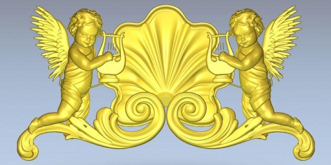 Angels Decor Relief Religious 3D Print Cnc Router 1354